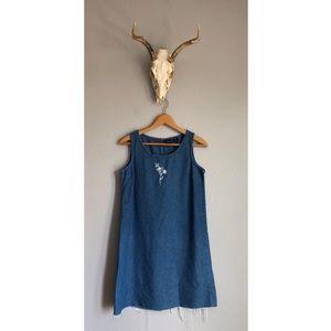 Vintage Denim Raw Hem Embroidered Mini Dress